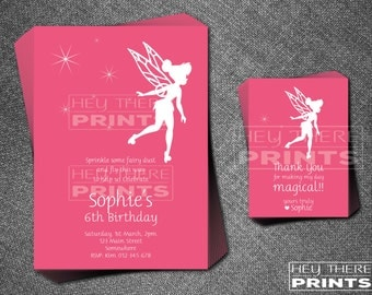 Tinkerbell Birthday Invitations and Thank You Cards - Disney Princess