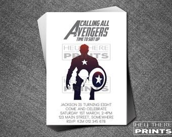 Captain America Birthday Invitations - The Avengers - Superhero