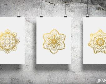 Decorative Circles Mandalas - Gold Foil Prints Set