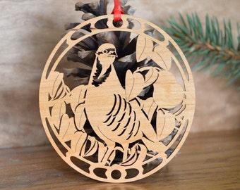 Wooden Partridge ornament bird wood cut design woodcut partridge of the 12 Days of Christmas ornament set