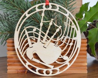 Wood bagpipes ornament woodcut design woodcut 11 Pipers Piping of the 12 days of Christmas ornaments