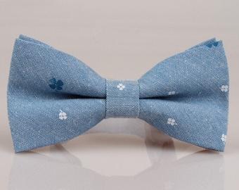Denim Bowtie.Light Blue Floral  Bow Tie.Mens Bow Tie.Bowtie for Party