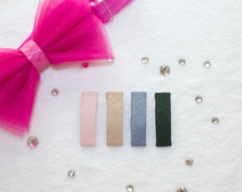 A SET OF SIX itty bitty 3 cm French barrettes fully lined with microsuede fabric for babies, kids, girls and pets.
