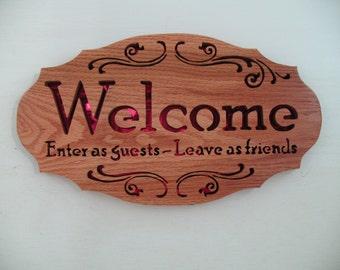 Welcome Oak Plaque