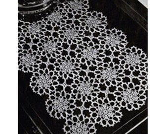 Crochet TABLE RUNNER Pattern Vintage 40s Crochet TABLECLOTH Pattern Table Cloth Granny Dinning Table cover-Boho Bohemian Home Decor