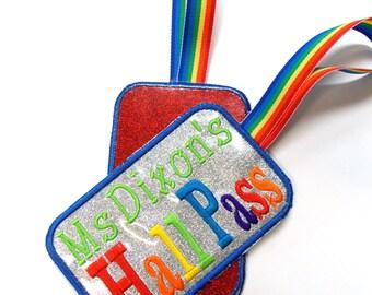 Vinyl Teacher's Hall Pass, Personalized reusable Hall Pass, Glitter vinyl easily cleaned, Rainbow themed Teacher's classroom organization