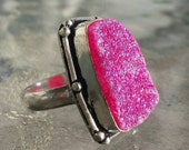SIZZLING PINK Titanium Druzy Statement Ring Size 7 Set in Sterling Silver FREE Shipping