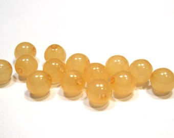 Czech Glass Druk 6mm - Pack 35 Beads - Tangerine
