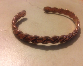 Vintage Copper Cuff Bracelet Braided Boho Jewelry