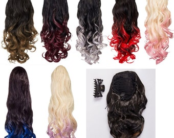 High Heat Synthetic Drawstring Ponytail Hair Extension Ombre Dip Dye Balayage Black Red Grey Blonde Pink Brown and More