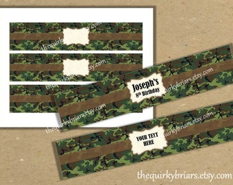 Camouflage Military / Soldier / Army Water Bottle Labels Printable PDF DIY Editable Instant Download