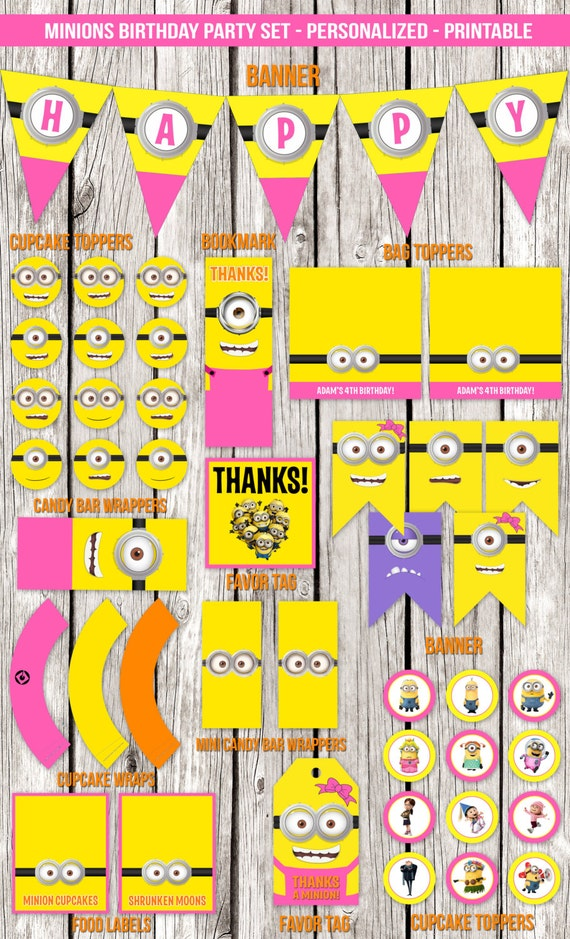 Pink Minions Complete Birthday Party Set Despicable Me