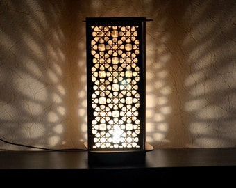 Floor, Table lamp Moroccan ornaments wooden handmade light home decor