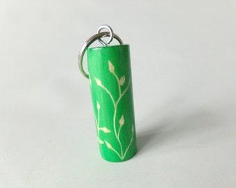 Green Wooden Keyring Cylinder Shape Etched Design Keychain