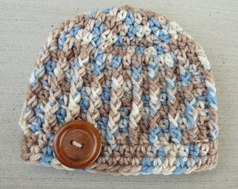 Newborn Ribbed Beanie--Tan, Blue, & Cream