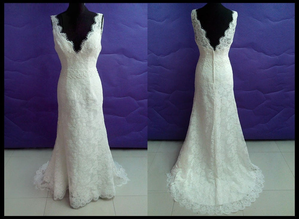 Simple lace wedding dress in vintage wedding by for Simple colored wedding dresses
