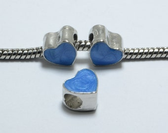 10pcs Heart Shaped Enamel Beads in Blue, 9mm, European Style Large Hole Beads. Great Supplies for your Jewelry Projects #SD-S7707