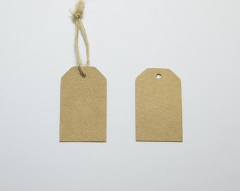 100pcs Luggage Hang Tags, Kraft Card, Blank Merchandise Tags, Price Tags, Includes Free 32ft Jute Strings in a Bobbin #SD-S7767