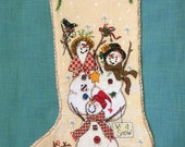 christmas stocking, hand made, Snowmen, cross stitch, Christmas Stockings Sack Sock Gift Filler Deer Snowflake Xmas Decoration