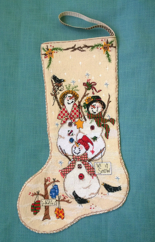 Christmas stocking hand made snowmen cross stitch for Custom made christmas stockings