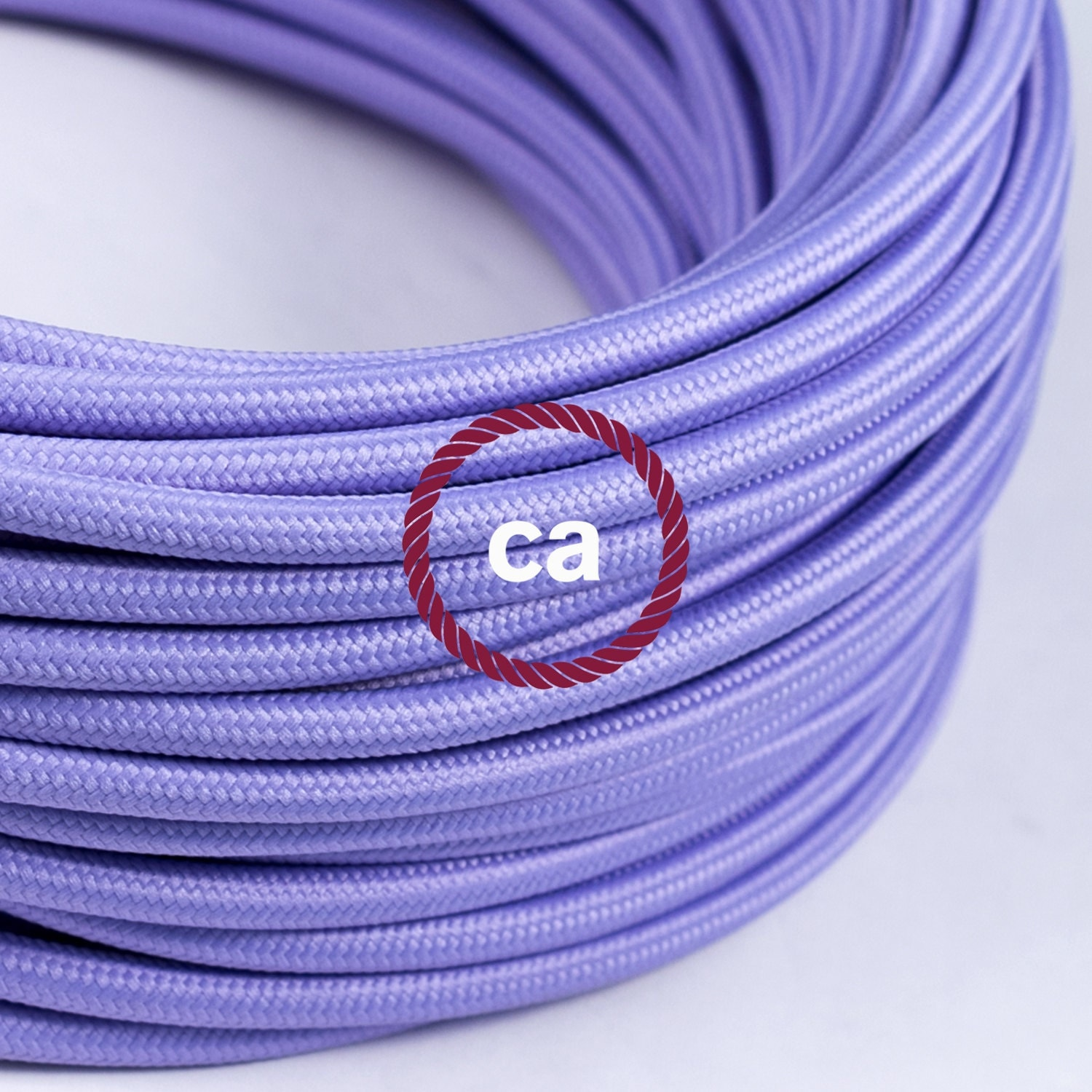 lilac cloth covered wire vintage l cord by