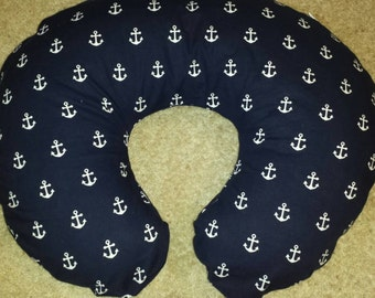 Navy blue with White Anchors Boppy Pillow Cover! Nursing pillow cover