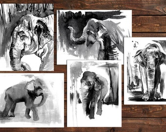 Set of 5 prints, Elephant Painting, black and white art set, elephant art, ink painting, black and white art, ink art, set of prints, 8x10