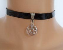 black pvc choker, pentagram choker, pvc necklace