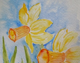 Two Daffodils Watercolor Notecard