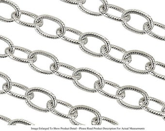 Sterling Silver Plated 6mm Textured Oval Jewelry Cable Chain (Sold by the Foot) (Free Shipping USA)
