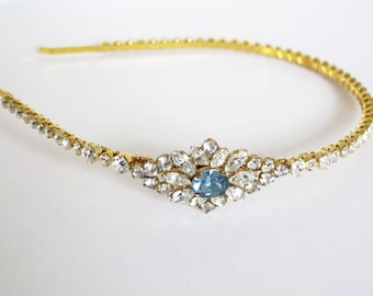 Vintage Crystal Gold Wedding Side Tiara, Hair Accessories, Unique Blue Crystal Centre