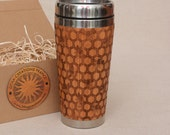 Bamboo Wood Travel Mug MY HONEY Customized Gift Full Design Engraved Car Desk Coffee Tea Cup Stainless Steel