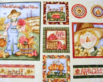 Happy Harvest fabric panel~Red Rooster~23x45~Scarecrows~pumpkins~Fall~Cut-n-Sew