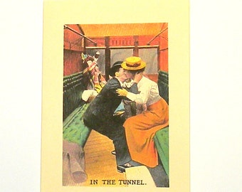 "I Love You Card, Train Card, ""In the Tunnel"" Card, Blank Note Card, Lovers Notecard,  Blank Handmade Card"