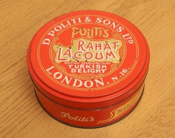 Vintage metal alloy D. Politi& Sons Ltd Rahat Lacoum British Manufacture Turkish Delight  London Nr. 16  tin / box