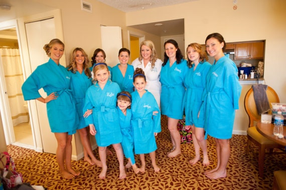 Set Of 9 Personalized Embroidered Robe By SandyWatersStore