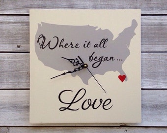 Wedding gift idea, Gift for her. Where it all Began Map, Wedding Wall Clock , Unique  State Map Sign,  Hand made wooden Wall Clock.