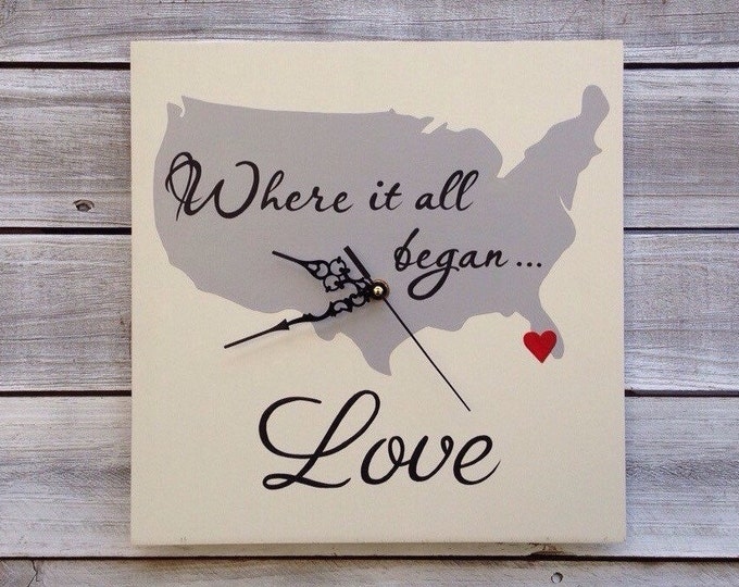 Where it all Began Map, Wedding Wall Clock , Unique Wedding State Sign,  State Map Wall Clock, Christmas gift idea