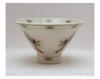 Ornamental Vase / Bowl / Dish by LCCeramics, hand made and decorated with Golden Ringed Dragonflies and lily leaves
