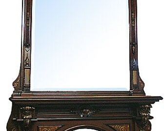 5812 American Renaissance Revival 19th century Mantel and Over Mirror
