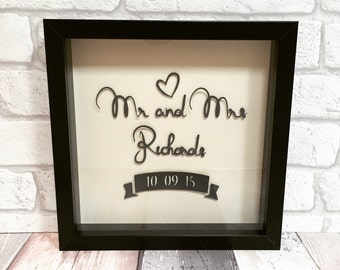 Mr and mrs framed wedding gift papercut