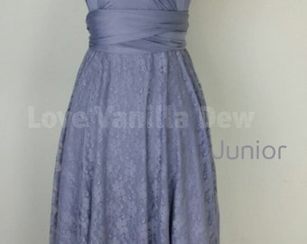 Junior Bridesmaid Dress Infinity Dress Periwinkle Lace Convertible Dress Multiway Wrap Dress