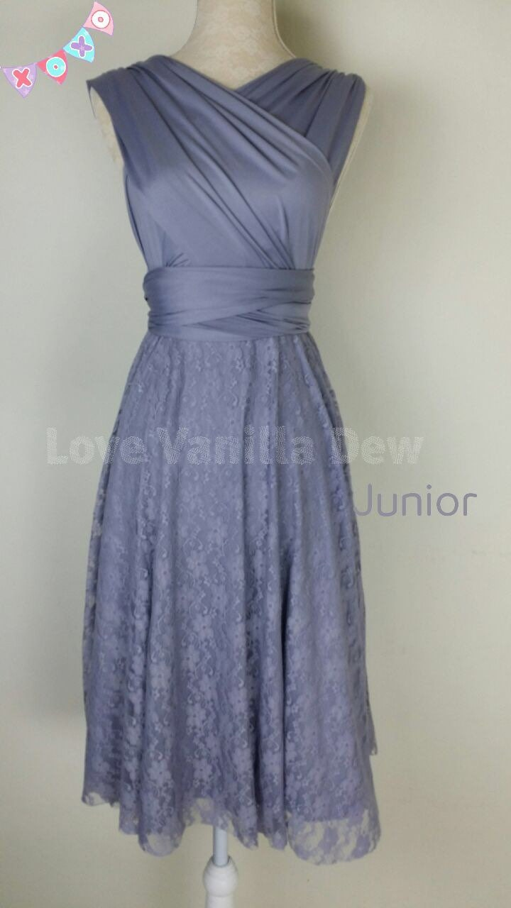 Junior bridesmaid dress infinity dress periwinkle lace zoom ombrellifo Choice Image