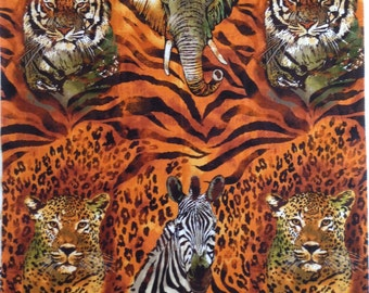 One Wild Animal Fabric Panel With From Robert Kaufman 100% Designer Cotton