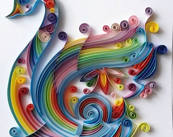 quilled paper art colourful swan handmade artwork paper wall art home decor wall decor home decoration quilled art