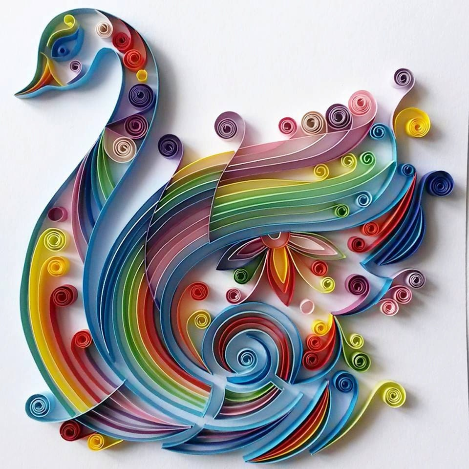 Quilling Wall Art Design : Quilled paper art colourful swan handmade
