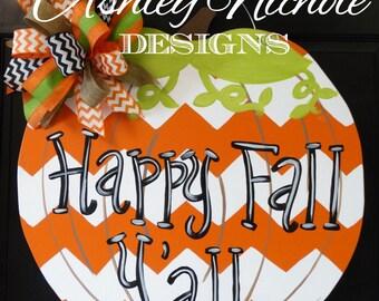 Chevron Pumpkin Door Hanger, Door Decoration, Whimsical Pumpkin, Fall Decor, Fall Wreath, Wooden Pumpkin