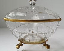 Castilian Three Sided Lidded Crystal with Brass Trim Bowl with Brass Claw and Crystal Ball Feet