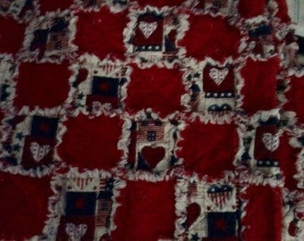 Patriotic Red, White and Blue Rag Quilt