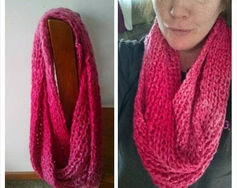 Pink Knittted Infinity Scarf
